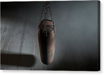 Vintage Leather Punching Bag Canvas Print by Allan Swart