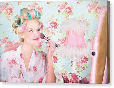 Dressing Room Canvas Print - Vintage Valentine Date by Jill Wellington