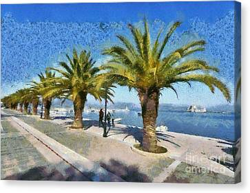 Walkway In Nafplio Town Canvas Print by George Atsametakis