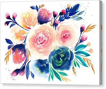 Watercolor Flower Painting Canvas Print by My Art
