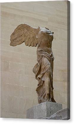 Winged Victory At Louvre Canvas Print by Carl Purcell