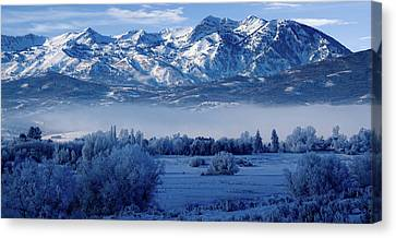 Foggy Day Canvas Print - Winter In The Wasatch Mountains Of Northern Utah by Utah Images