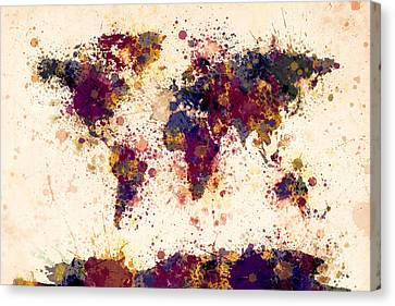 World Map Paint Splashes Canvas Print by Michael Tompsett