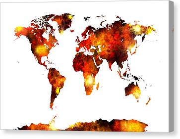 Michael Canvas Print - World Map Watercolor by Michael Tompsett