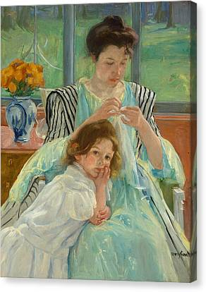 Young Mother Sewing Canvas Print