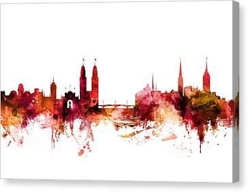 Switzerland Canvas Print - Zurich Switzerland Skyline by Michael Tompsett