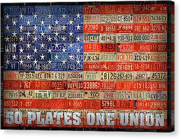 50 Plates One Union Recycled License Plate American Flag Canvas Print by Design Turnpike