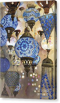 Glass And Metal Art Canvas Print - 50 Shades Of Blue by Carol Bostan