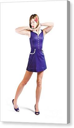 50s Pin-up Girl In Retro Purple Polka Dot Dress Canvas Print