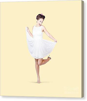 Youthful Canvas Print - 50s Pinup Woman In White Dress Dancing by Jorgo Photography - Wall Art Gallery