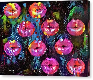 Kissing Canvas Print - Kissing Lips by Amy Cicconi
