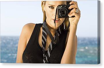 Petra Canvas Print - 52964 Petra Nemcova Hazel Eyes Blonde Face Camera Black Clothing Tie by Anne Pool