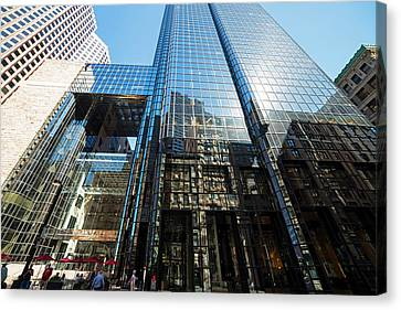 Exchange Place Canvas Print - 53 State Street Boston Ma Exchange Place Sun Reflection by Toby McGuire