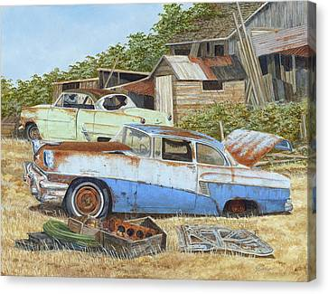 '53 Vicky And '56 Custom Canvas Print by Scott Lang