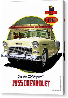55 Chevy Canvas Print by Kenneth De Tore