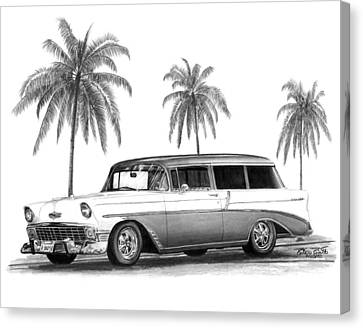 56 Chevy Wagon Canvas Print by Peter Piatt