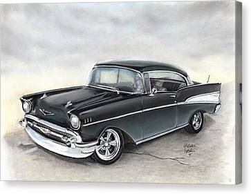 57 Chev Canvas Print by Heather Gessell