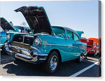Canvas Print featuring the photograph 57 Chevy - Ehhs Car Show by Michael Sussman