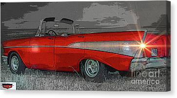 Burger Canvas Print - 57 Chevy Heading For Route 66  by Al Bourassa