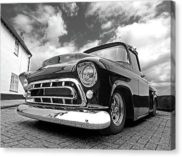Lowrider Canvas Print - 57 Stepside Chevy In Black And White by Gill Billington