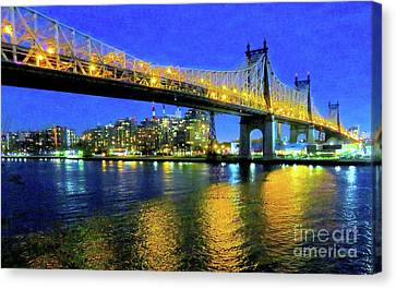 59th Street Bridge Dusk 13 Canvas Print by Ken Lerner