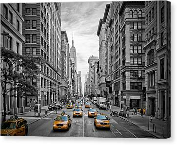 Yellow Building Canvas Print - 5th Avenue Nyc Traffic by Melanie Viola
