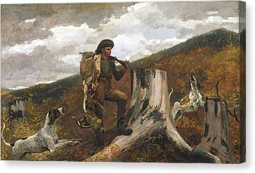 Man And Dog Canvas Print - A Huntsman And Dogs by Winslow Homer