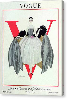 Headband Canvas Print - A Vogue Magazine Cover Of A Woman by Georges Lepape