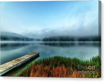 Autumn Mist On Lake Canvas Print by Thomas R Fletcher