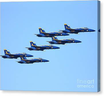 6 Blue Angels Jetting Through The Sky Canvas Print by Wingsdomain Art and Photography