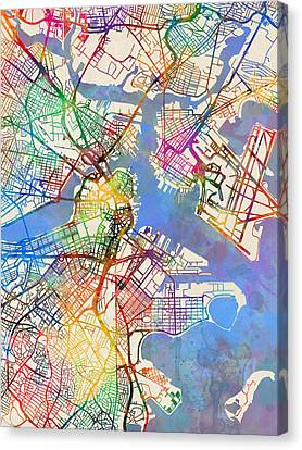 Boston Massachusetts Street Map Canvas Print by Michael Tompsett