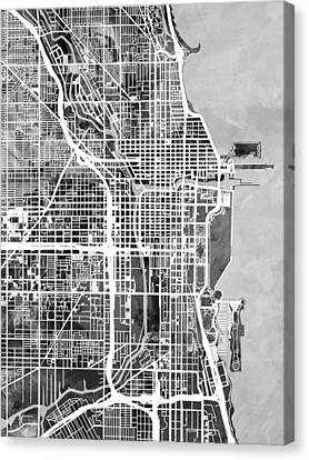 Chicago City Street Map Canvas Print by Michael Tompsett
