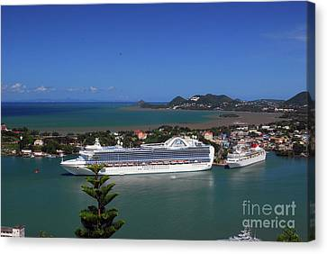 Canvas Print featuring the photograph Cruise Ship In Port by Gary Wonning