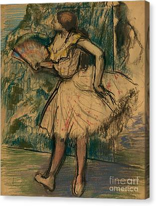 Dancer With A Fan Canvas Print by Edgar Degas