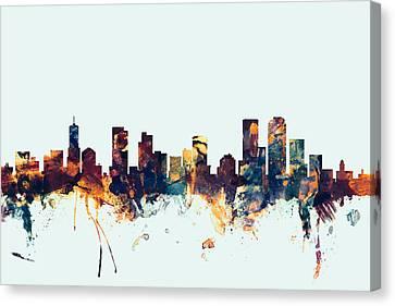 Denver Colorado Skyline Canvas Print by Michael Tompsett