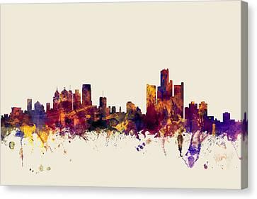 Detroit Michigan Skyline Canvas Print by Michael Tompsett