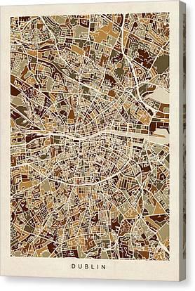 Dublin Ireland City Map Canvas Print by Michael Tompsett
