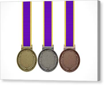 First Second And Third Medals Canvas Print by Allan Swart