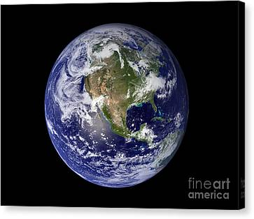 Terrestrial Canvas Print - Full Earth Showing North America by Stocktrek Images