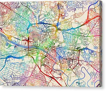 Glasgow Street Map Canvas Print by Michael Tompsett