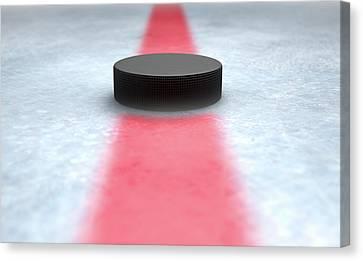 Hockey Puck Centre Canvas Print