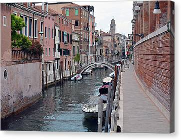 6 June 2017 Picturesque Buildings Near A Canal In Venice, Italy Canvas Print