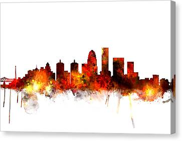 Michael Canvas Print - Louisville Kentucky City Skyline by Michael Tompsett