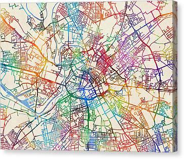 Manchester England Street Map Canvas Print