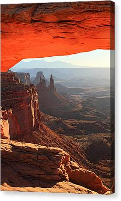 Mesa Arch Sunrise In Canyonlands National Park Canvas Print by Pierre Leclerc Photography