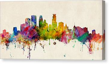 Minneapolis Minnesota Skyline Canvas Print by Michael Tompsett