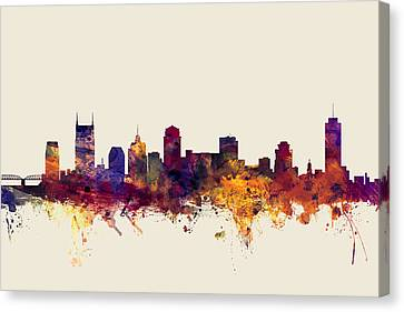 Nashville Skyline Canvas Print - Nashville Tennessee Skyline by Michael Tompsett