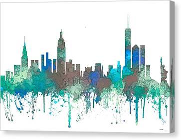 Canvas Print featuring the digital art New York Ny Skyline by Marlene Watson