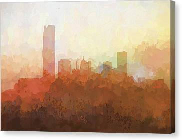 Canvas Print featuring the digital art Oklahoma City Oklahoma Skyline by Marlene Watson