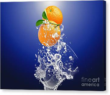 Canvas Print featuring the mixed media Orange Splash by Marvin Blaine